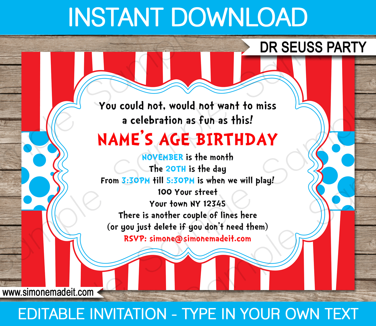 Dr Seuss Party Invitations Birthday Editable Diy Theme Template Instant 7 50