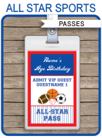 All Star Sports Party VIP Passes | Custom Party Favors | Editable DIY Template