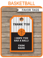 Basketball Party Favor Tags | Thank You Tags | Editable Birthday Party Template