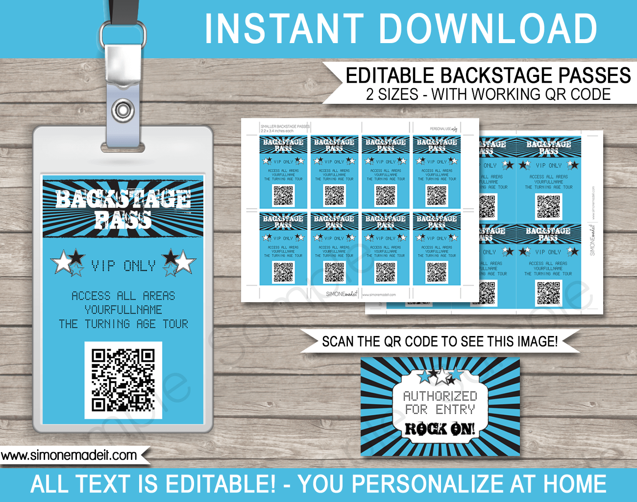 Rockstar Birthday Party Backstage Passes | Printable Inserts | QR Codes | Party Favors | Concert Theme | Editable DIY Template | $3.50 INSTANT DOWNLOAD via SIMONEmadeit.com