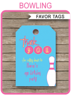 Bowling Birthday Party Favor Tags | Thank You Tags | Editable Birthday Party Template