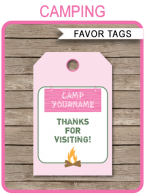 Camping Birthday Party Favor Tags | Pink | Thank You Tags | Editable Birthday Party Template