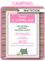 Girls Camping Party Invitations | Camping Party Theme | Editable DIY Template