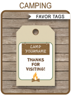 Camping Party Favor Tags | Thank You Tags | Editable Birthday Party Template