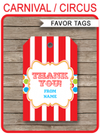 Carnival Party Favor Tags template – colorful