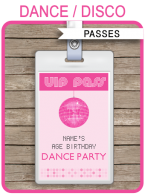 Dance Party VIP Passes | Party Favors | Disco Party | Birthday Party | Editable DIY Template