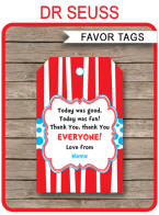 Dr Seuss Party Favor Tags | Thank You Tags | Birthday Party | Editable DIY Template