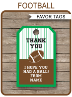 Football Party Favor Tags | Thank You Tags | Birthday Party | Editable Template