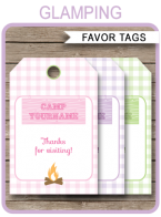 Glamping Party Favor Tags | Thank You Tags | Editable Birthday Party Template