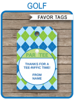 Golf Party Favor Tags | Thank You Tags | Birthday Party | Editable Template