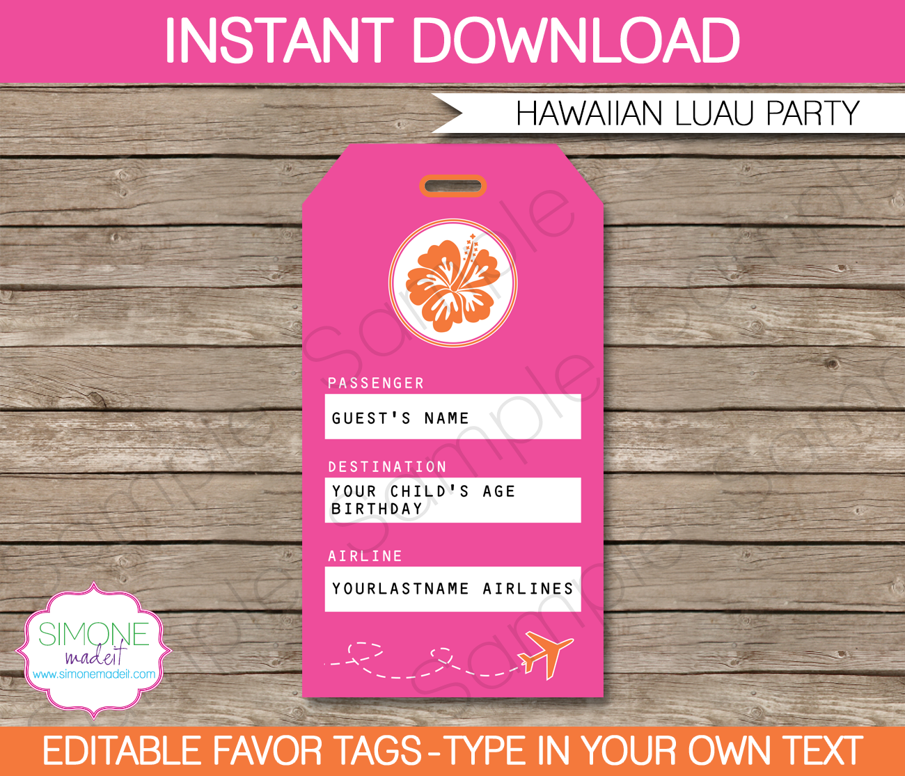 Hawaiian Luau Luggage Tags Template