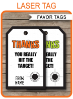 Laser Tag Party Favor Tags Template – green/orange