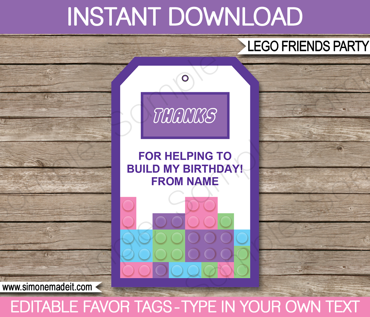 Lego Friends Favor Tags | Thank You Tags | Birthday Party | Editable DIY Template |
