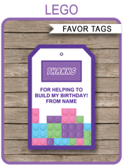 Lego Friends Party Favor Tags | Thank You Tags | Editable Birthday Party Template