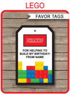 Lego Party Favor Tags | Thank You Tags | Editable Birthday Party Template
