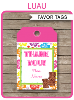 Luau Party Favor Tags template