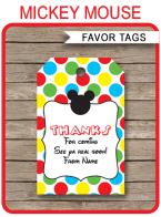 Mickey Mouse Party Favor Tags template
