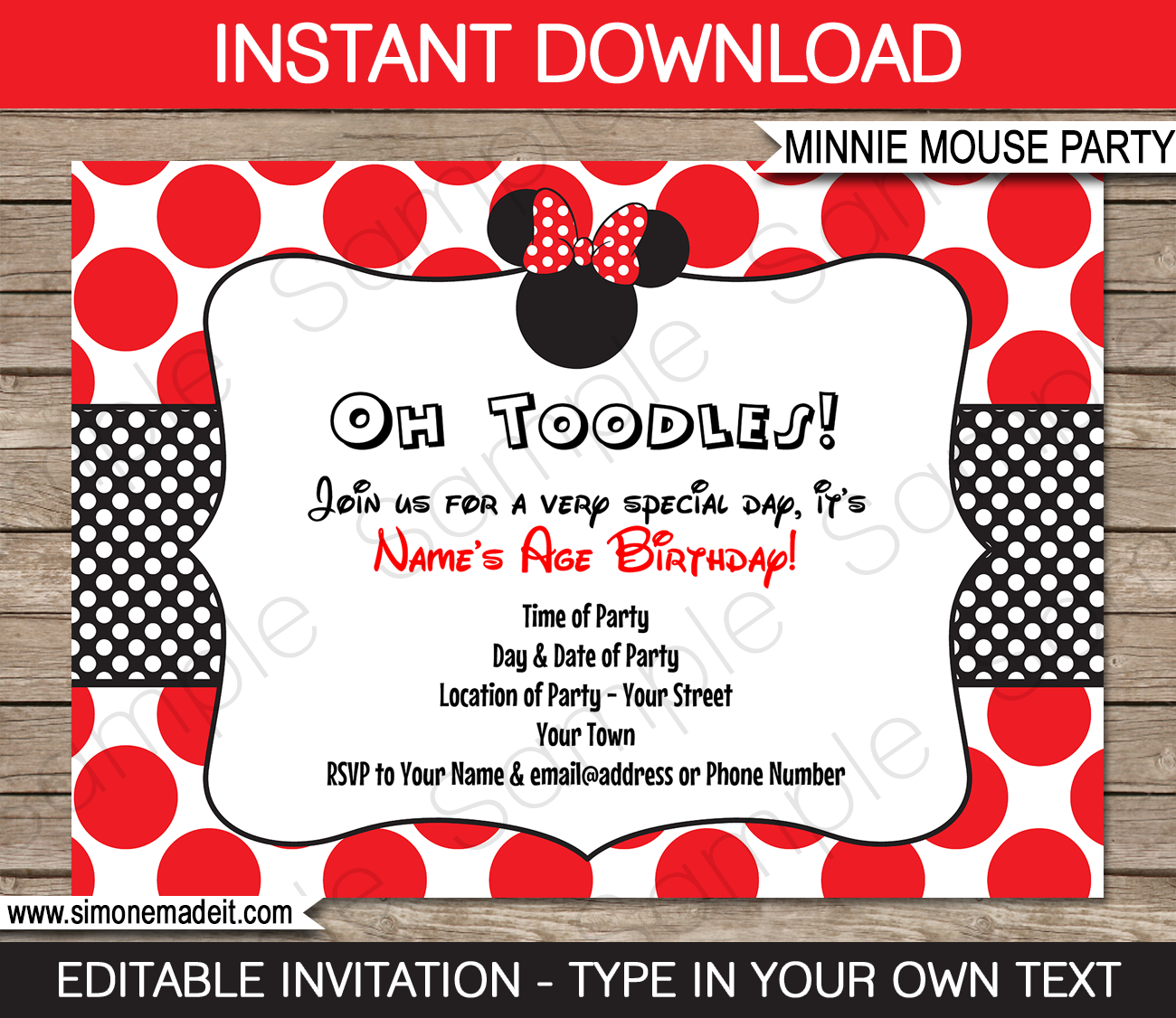 Minnie Mouse Birthday Party Invitations Template