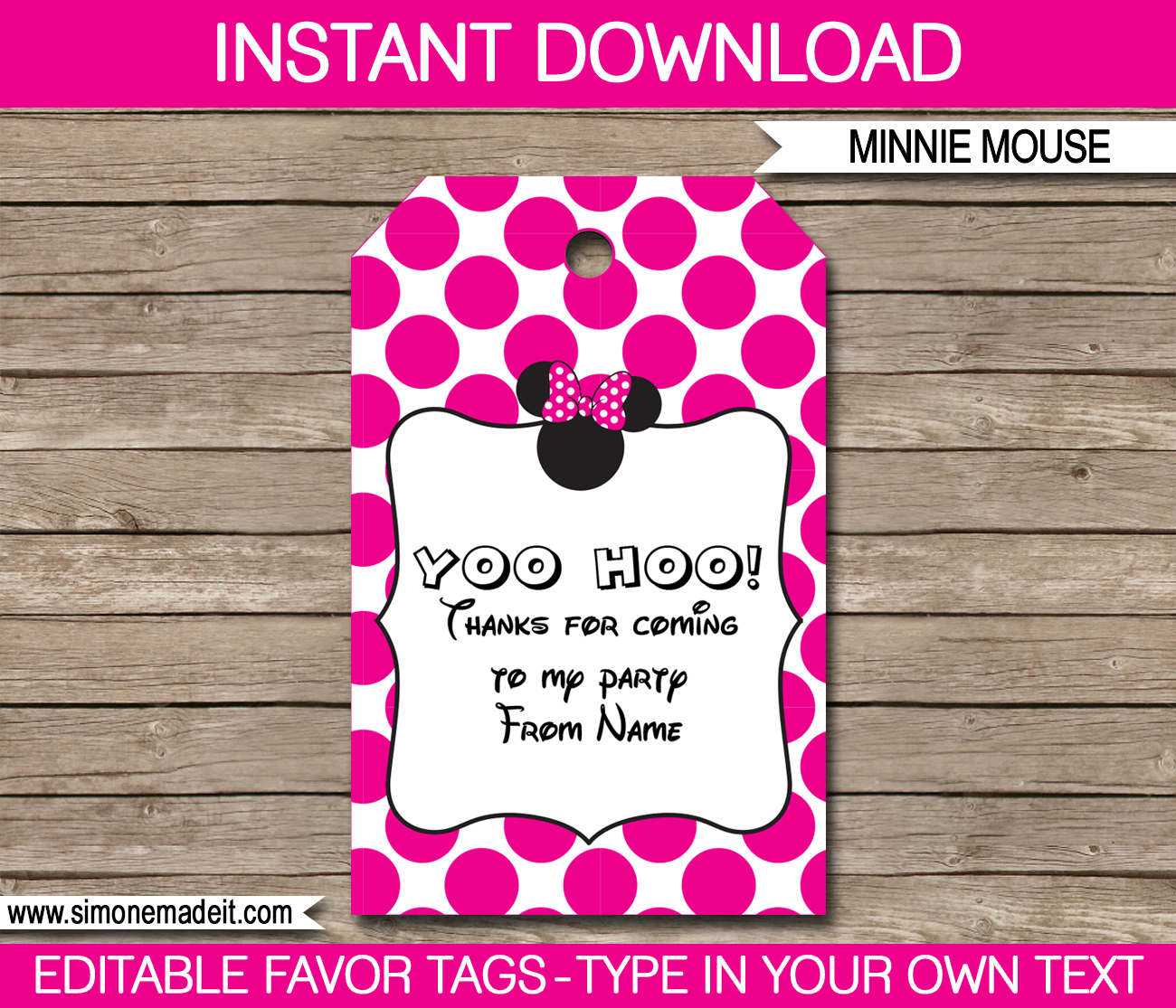 minnie mouse party favor tags thank you tags birthday party