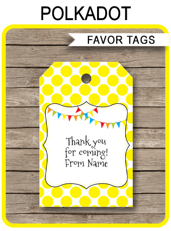 Pennant Birthday Party Favor Tags | Thank You Tags