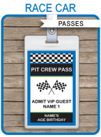 Race Car Birthday Party Pit Crew Passes template – blue