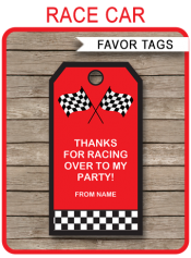 Race Car Party Favor Tags | Thank You Tags | Birthday Party | Red | Editable Template