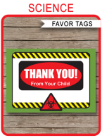 Mad Science Party Favor Tags | Thank You Tags | Birthday Party | Editable Template