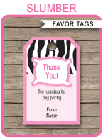 Printable Sleepover Birthday Party Favor Tags Template | Thank You Tags | Slumber Party | DIY Editable Text | $3.00 INSTANT DOWNLOAD via SIMONEmadeit.com