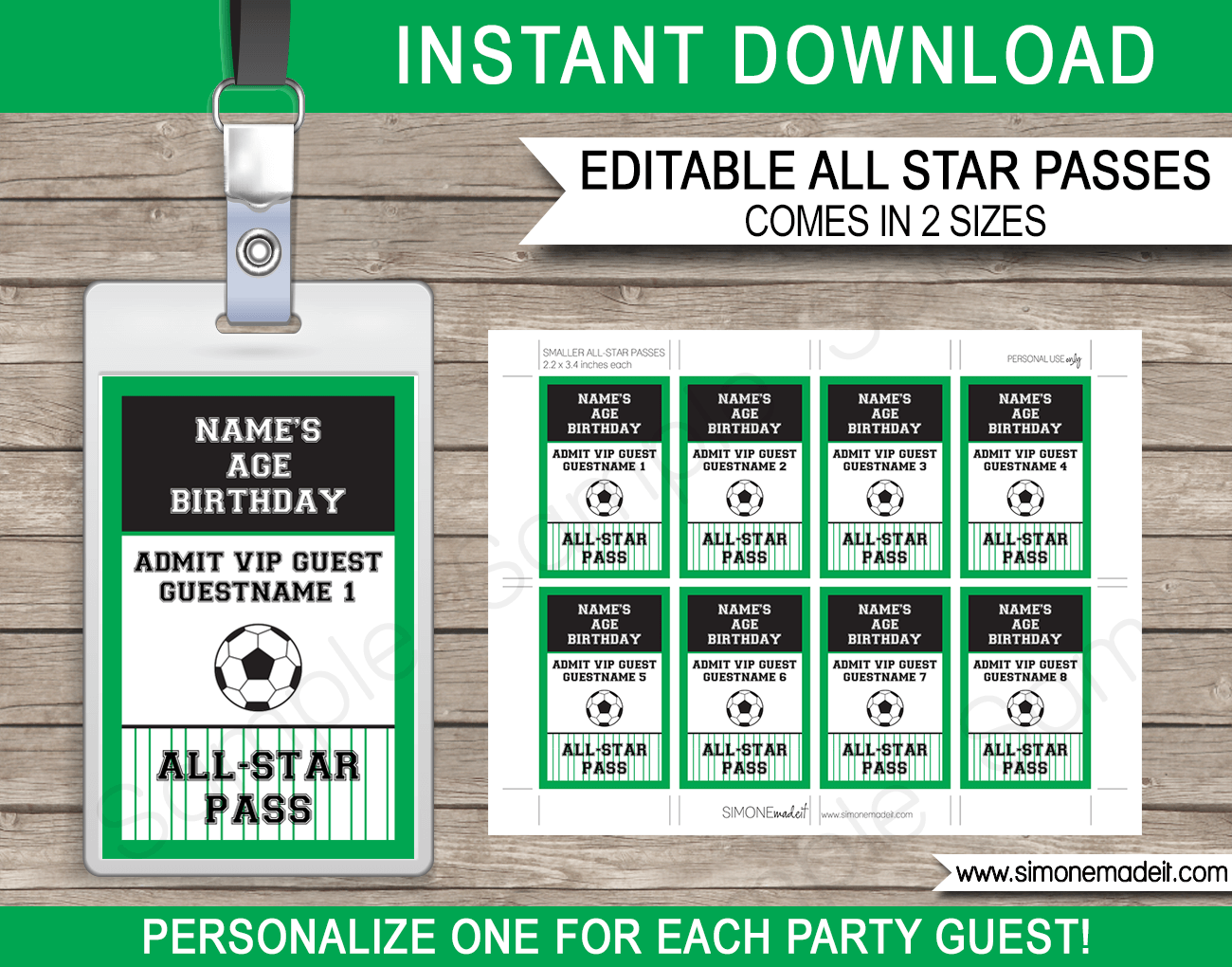 soccer party all star vip passes template party favors