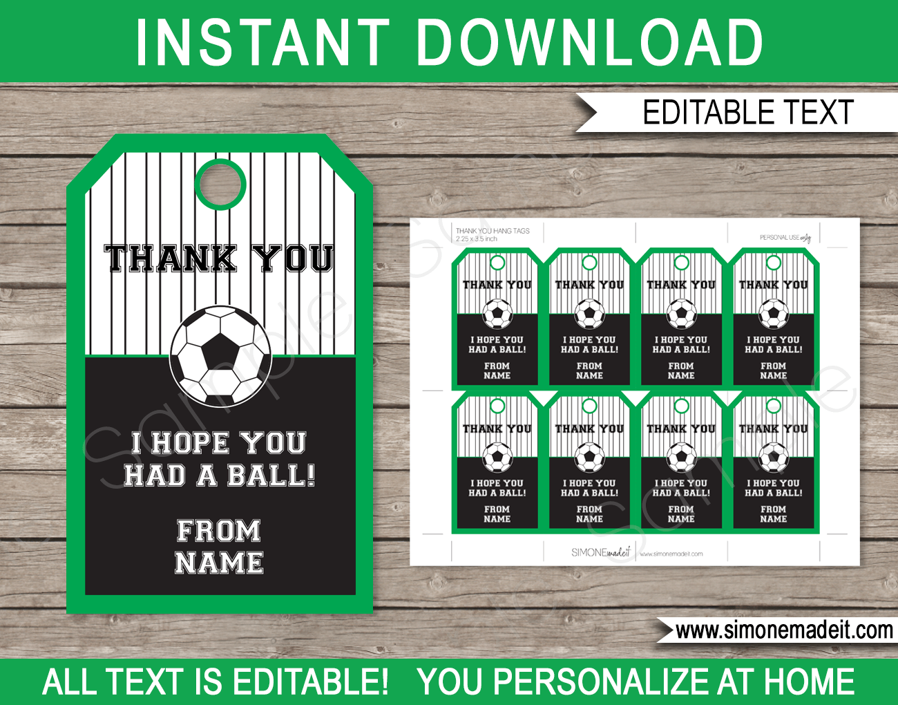 Soccer Party Favor Tags Template