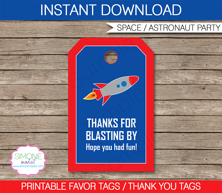 Space Rocket Party Favor Tags | Thank You Tags | Birthday Party | Editable DIY Template | $3.00 INSTANT DOWNLOAD via SIMONEmadeit.com
