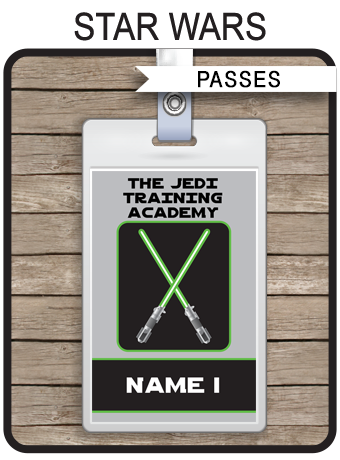 Star wars party jedi training academy passes favors for Star wars jedi certificate template free