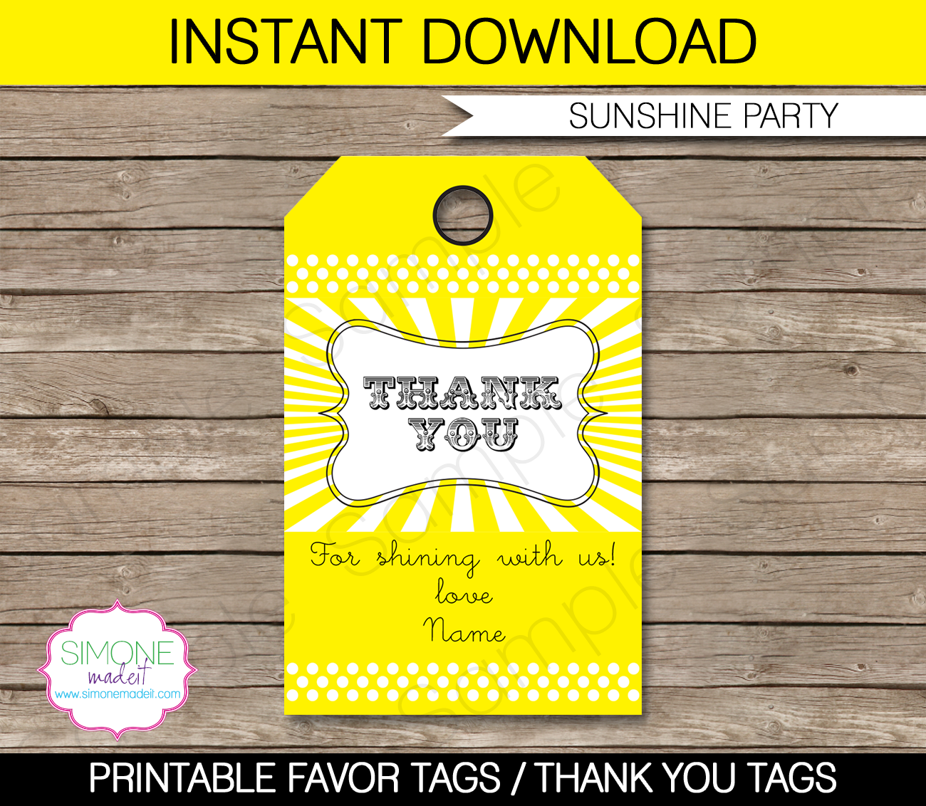 Sunshine Party Favor Tags | Thank You Tags | Birthday Party | Editable DIY Template | $3.00 INSTANT DOWNLOAD via SIMONEmadeit.com