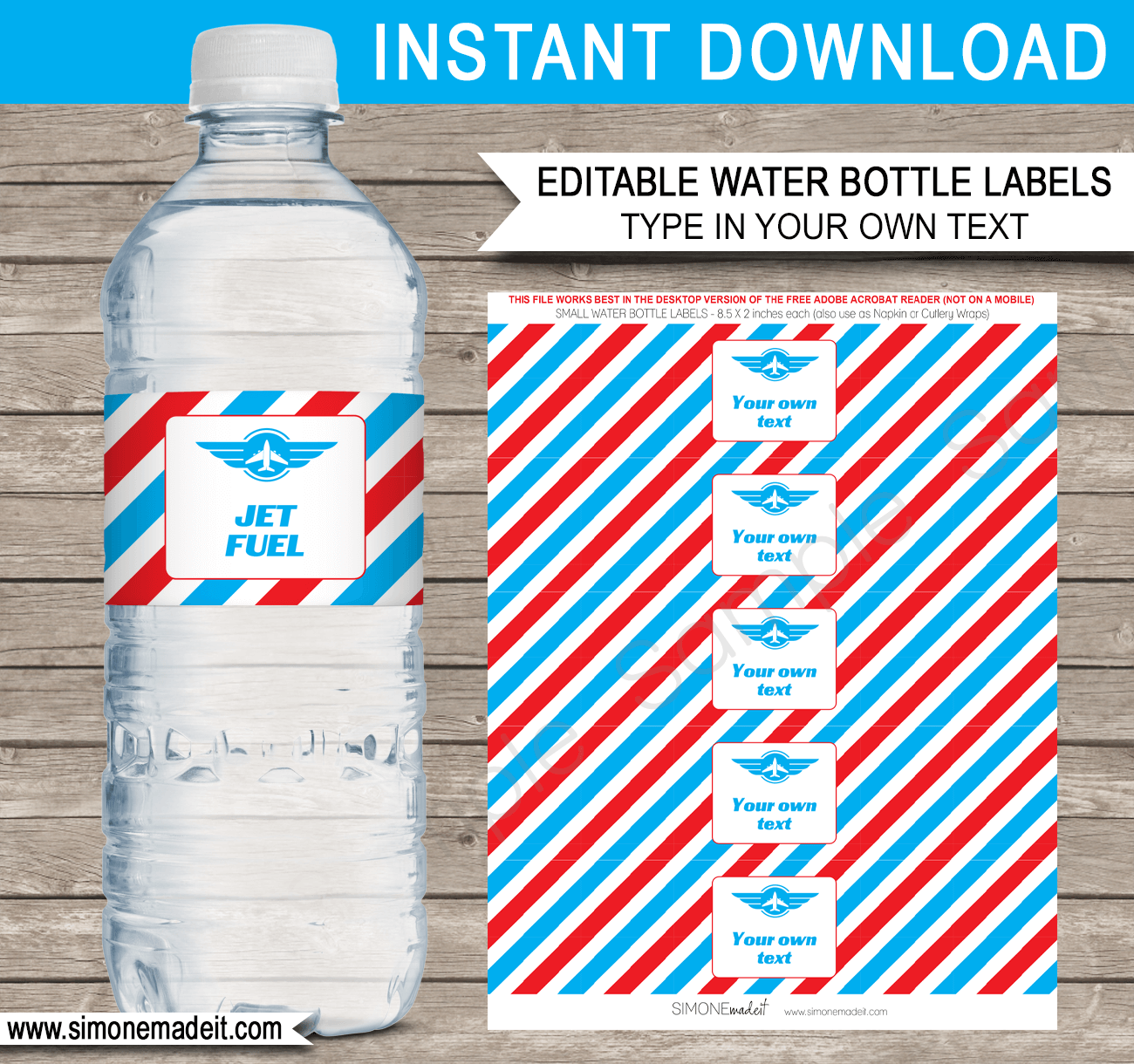 Airplane Theme Water Bottle Labels