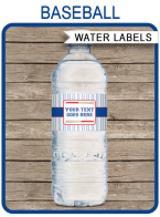 Baseball Party Water Bottle Labels template