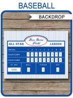 Baseball Party Scoreboard Backdrop | Editable & Printable DIY Template