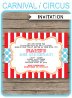 Carnival or Circus Invitations Template | Printable & Editable DIY Template | Instant Download