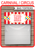 Carnival Party Favor Bag Toppers template – colorful