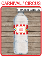 Editable Carnival Party Water Bottle Labels | Circus Birthday Party | Printable Decorations | DIY Template | Instant Download