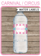 Carnival Party Water Bottle Labels | Pink Aqua | Editable and Printable Template | Instant Download