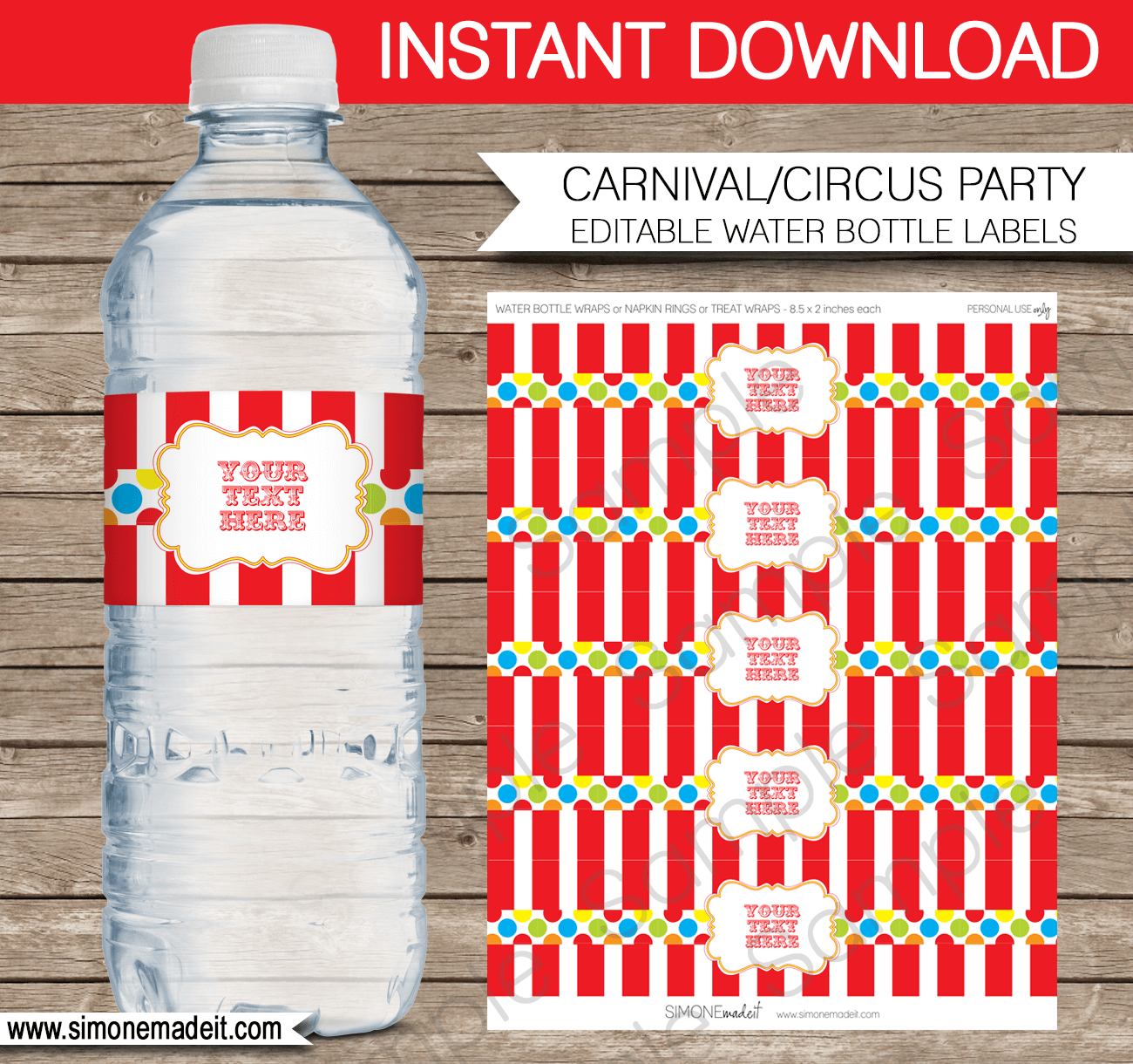 Editable Carnival Party Water Bottle Labels