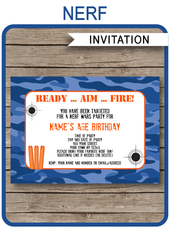 Nerf Party Invitations Template – blue camo