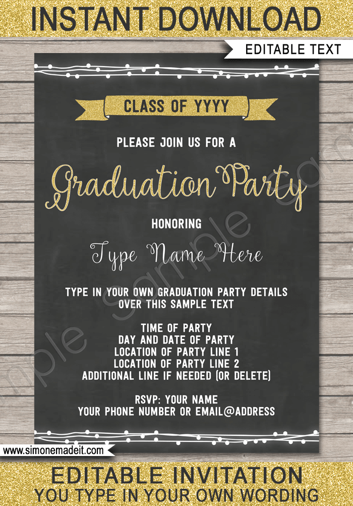 Graduation Party Invitations Template Gold