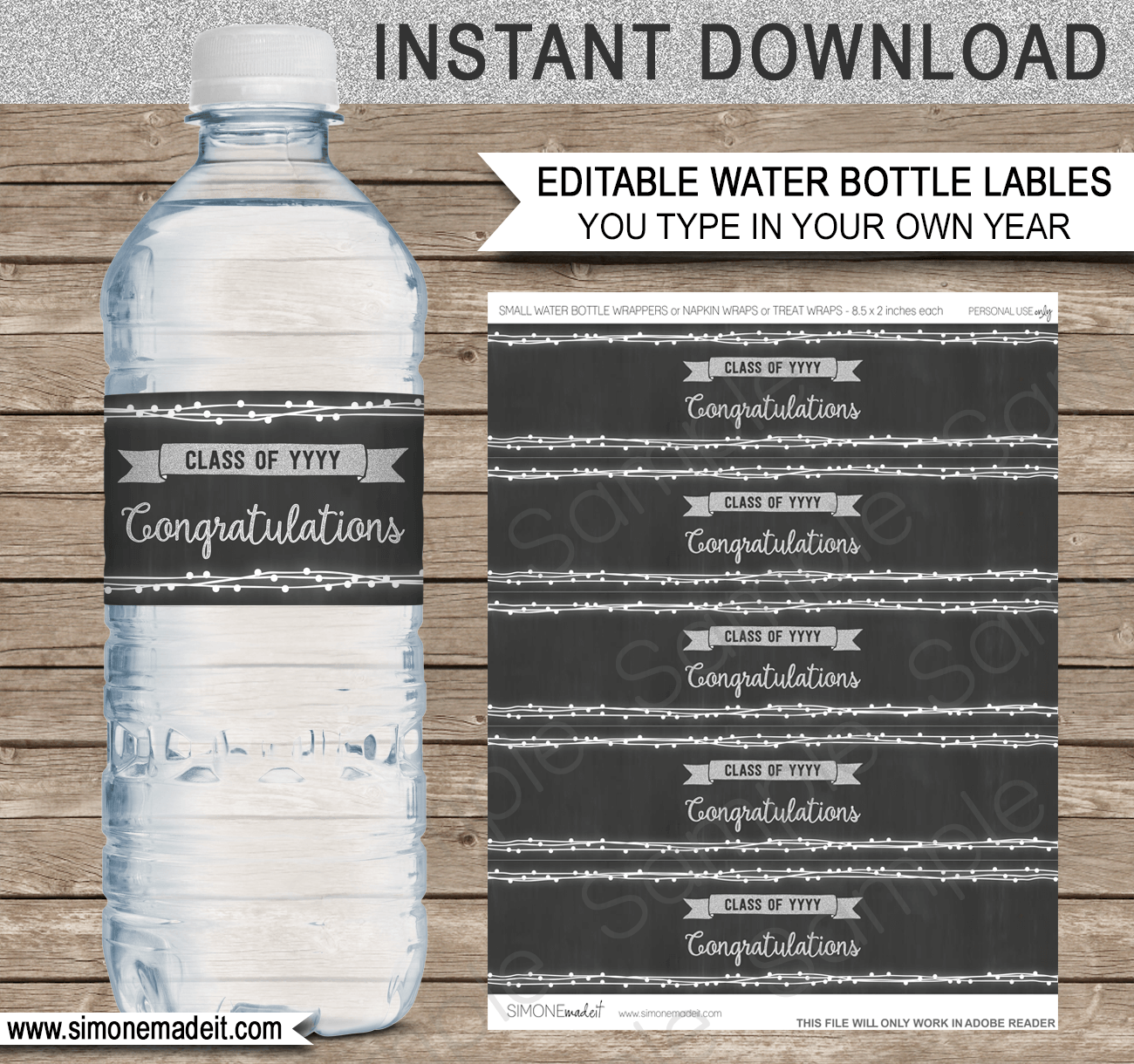 Editable Graduation Party Water Bottle Labels Decorations - 8 oz water bottle label template free