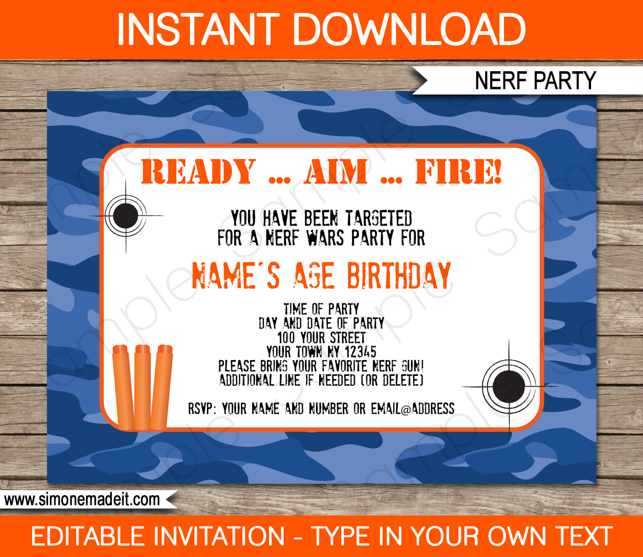 Nerf Birthday Party Invitations Editable Template Blue Camo