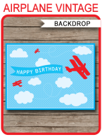 Printable Airplane Birthday Party Backdrop | Party Decorations | DIY Template | Instant Download
