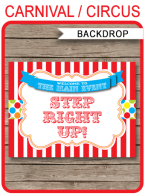 "Carnival Party Backdrop Sign – ""Step Right Up"" – colorful"
