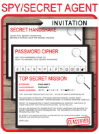 Spy Party Invitations | Secret Password | Secret Agent Birthday Party | Editable DIY template | Instant Download