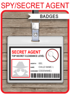 Secret Agent Badge Template | Spy Party ID Badge | Birthday Party | Editable DIY Tempalte