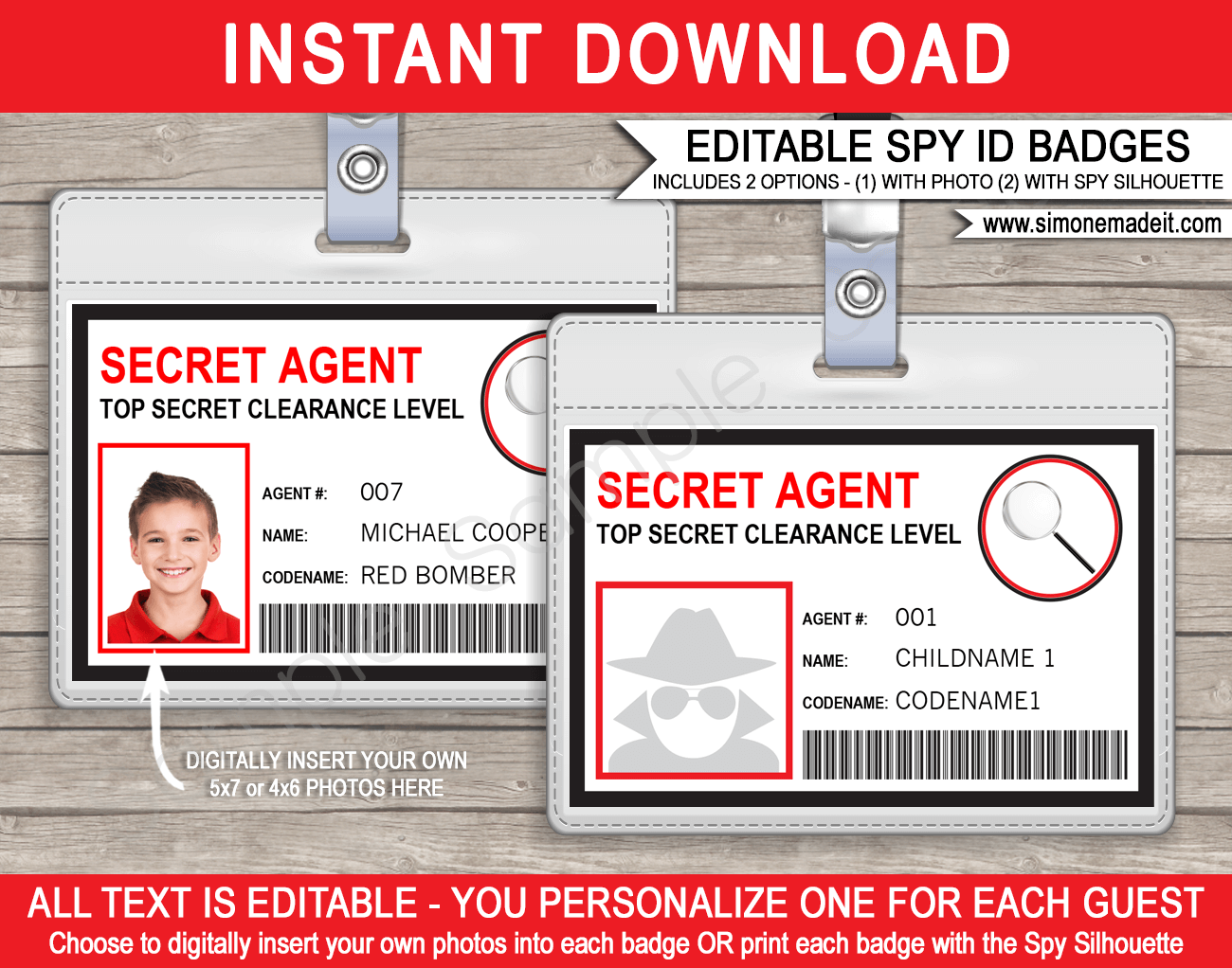 Secret agent badge template spy badge birthday party for Spy id card template
